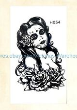US Seller-sugar skull lady rose temporary tattoo realistic fake tattoos