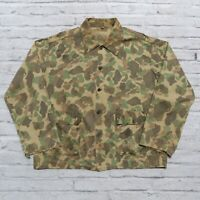 Vintage 40s WWII Frogskin 13 Star Button Camo Military US Army Shirt Jacket WW2