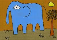 elephant e9Art 5x7 Outsider Folk Art Brut Painting Naive Contemporary Childlike
