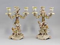 9937869-dss Kerzenständer Paar kleine Prunkleuchter mit Figuren gelb