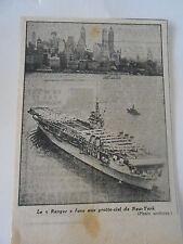 Le Bateau Le Ranger face aux Gratte ciel de New York Coupure de presse 1943