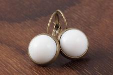 Ohrringe weiße Perle/bronze Brisur-elegant/retro Neu + ungetragen