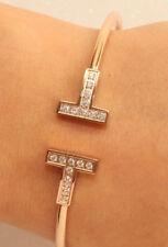 18K Roe Gold Finish 0.5ct Diamond Bangle Bracelet Very BEAUTIFUL