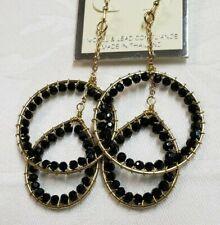 "Black Rhinestone Hoop Dangle Gold Earrings 2 3/4"" Long"