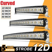 """Curved Strobe Led Bar Light  22"""" 32"""" 42"""" 50"""" Combo Driving for Offroad ATV 4X4"""