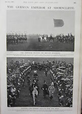 1902 PRINT GERMAN EMPEROR AT SHORNCLIFFE REVIEWS BRITISH REGIMENT PARADE GROUND