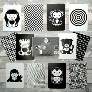 24 Design Black White Colour Baby Sensory Development Flash Cards Vision Newborn