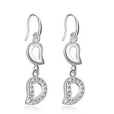 Silver Plaed tTwo Leaves Shiny Party Evening White Drop Dangling Earrings E928