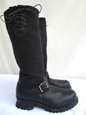 Vtg 60'S/ 70'S.Engineer.Black. Leather.Knee High.Steel Toe.Boots.M7/ W9