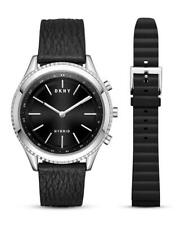 DKNY Womens Woodhaven Hybrid Leather Black Smart Watch NYT6100
