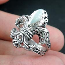 FLEUR DE LIS Design Mother of Pearl 925 Sterling Silver Ring, Size O-UK, 7.5-USA