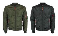 New Men's Military Army Air Force MA-1 Slim Fit Pilot Bomber Black Coat Jacket