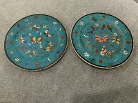 Antique Japanese Signed Kinkozan Porcelain Pair of Butterfly Decorated Plates