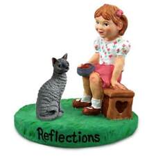 Blue Cornish Rex Cat with Girl Reflections Figurine