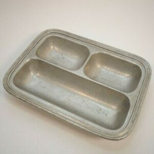 Vintage Wilton-Columbia PA Pewter Divided Serving Dish Tray with 3 Compartments