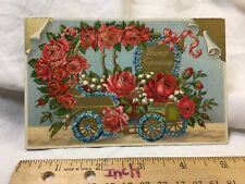 Vintage Embossed Postcard  Heartiest Congratulations Rose Flowers Car