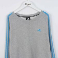 Adidas Embroidered Logo Sweatshirt Sweater Grey & Blue Size L | Vintage Retro