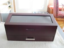 WATCH CASE BEAUTIFUL DARK WOODEN GLASS TOP HOLDS 5 WATCHES + DRAWER FOR JEWELRY
