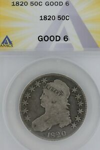 1820   50C  G 6   ANACS  --   Capped Bust Half Dollar, Miss Liberty
