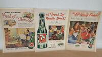 Original 1948-53 Three Vintage Seven Up Magazine Ads