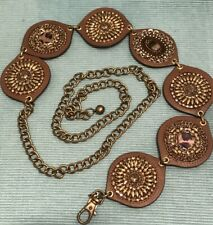 CHICO'S Brown Beaded Embellished Disc Chain Belt Adjustable M/L/XL