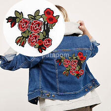 Peony Flowers Patch Embroidery Iron On Patch For Clothes Jacket Jean Appliques