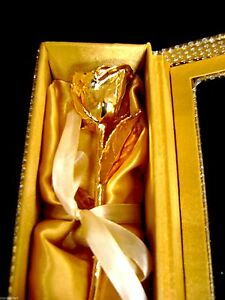 """VALENTINE GIFT 24K Gold Dipped 6"""" Real Rose in Gold Egyptian Casket Design Box"""