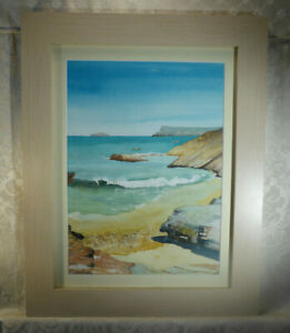 Original Cornish Sea Coast Landscape Painting Signed Anne Brooks Truro Framed