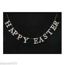 GISELA GRAHAM HAPPY EASTER DAISY DAYS FLORAL WOODEN GARLAND BUNTING DECORATION
