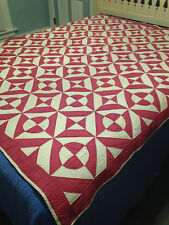 Vintage Graphic Deep Rich Pink and White Quilt Don't Know Pattern