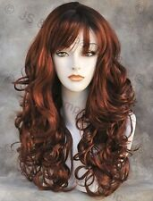 BOUNCY LONG WAVY Curly RED RED mix WIG with bangs JSCA Sangaria