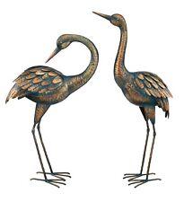 Cranes Garden Decor Set of 2 Crane Birds Copper Patina Finish Regal Art & Gift