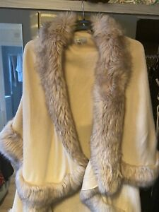 Coast Faux Fur Trimmed luxurious double layered wrap Cape Pink nude One Size