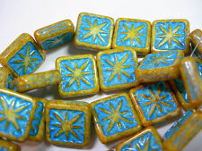 12 Ivory Picasso w/ Turquoise Wash Czech Glass Square Beads 14mm