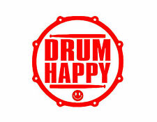 "Drum Happy Vinyl Decal Red 6"" Drum Percussion Cymbals Drummer Drumming"