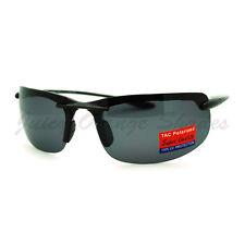 Polarized Lens Sunglasses Mens Lite Weight Rimless Wrap Sports Eyewear