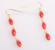 "1.5"" 5X8mm olivary red coral Earrings 14K gold hook  j10162"