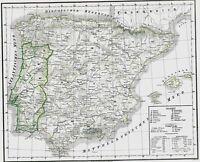 Alte Landkarte PORTUGAL und SPANIEN 176 Jahre alt 🕺💃⛲️🐃 Lithographie 1844