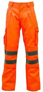 Stand Safe Hi Vis Viz Polycotton Safety Work Trousers EN471 CLASS 1