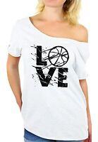 LOVE Basketball Women's Off Shoulder Tops T shirt Gift for Basketball Player