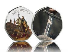 King Arthur & Excalibur Full Colour Silver Commemorative. Camelot, Sword/Stone