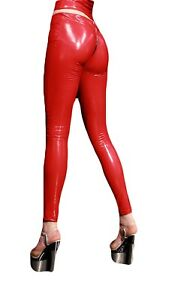 Women Synthetic Latex Slim Zipper Crotch Leggings Stretchy Pencil Pants Trousers