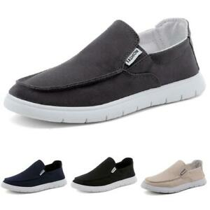 Mens Driving Moccasins Flats Breathable New Canvas Pumps Slip on Loafers Shoes B