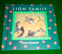 LION FAMILY Jane Goodall Hardcover Book, Lionesses, Males, Cubs, V.G. CONDITION