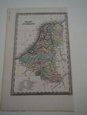 "Antique Map ""Holland and the Netherlands"" Hand Colored"