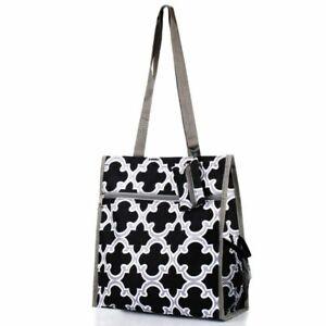 All Purpose Travel Laundry Shopping Zipper Utility Tote Bag Black Quatrefoil