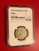 1925 Guatemala 1/4 Quetzal NGC VF 20