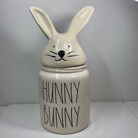 "Rae Dunn Easter/Spring LL ""HUNNY BUNNY"" Bunny Ears/Head Lid Canister - Large NEW"