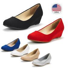 Women's Slip On Pump Shoes Mid Wedge Heel Round Toe Comfort Pump Dress Shoes