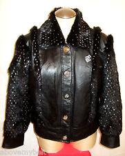 ROCAWEAR BLACK LEATHER & Fur Jacket/Coat***XL***$278***99.99% NEWBIE!!!!